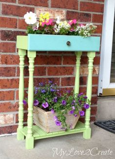 Stack an old dresser drawer atop a makeshift table and add some colorful paint for a bright, fun way to grow flowers. Get the tutorial at My Repurposed Life.