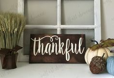 Hand Painted thankful Wood Sign  Give thanks by WallArtShowcase