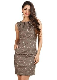 d590b124be7e Brown Polka Printed Sleeveless Dress With Neck Pleats