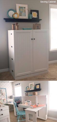 Armário/ gabinete para costurar e ao mesmo tempo guardar a máquina e suas coisas de costura.