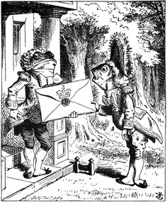Alice in Wonderland ~ Fish footman giving a letter to the frog footman by Sir John Tenniel