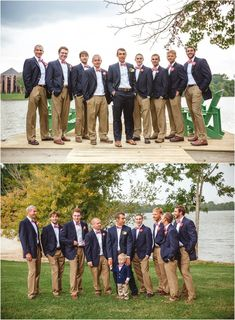 Groomsmen with orange bowties and navy blazers. Khaki Wedding, Nautical Wedding, Wedding Groom, Wedding Men, Wedding Suits, Wedding Attire, Wedding Ideas, Orange Wedding, Groomsmen Attire Navy