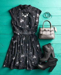 """Rebellion never looked so good. Featured product includes: """"Star Wars"""" star field dress, REED Boxer handbag, Apt. 9 perforated ankle boots and metallic necklace. Head to Kohl's for all things """"Star Wars""""."""