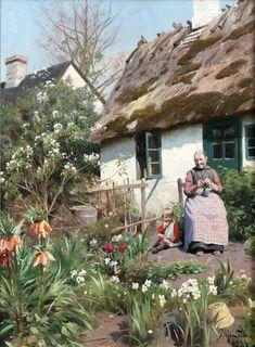 "Photo from album ""Датский художник Peder Mørk Mønsted on Yandex. Farm Paintings, Paintings I Love, Beautiful Paintings, Landscape Paintings, Pintura Colonial, Mary Cassatt, Cottage Art, Art Plastique, Vincent Van Gogh"