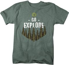 Men's Explore T Shirt Wanderlust Shirts Forest Nature Shirt Hipster Shirts Wanderlust Shirt Adventure Camping Tee – Products All Nature, Back To Nature, Hipster Shirts, Tee Design, Mens Tees, Shirt Designs, T Shirts For Women, Camping, Explore