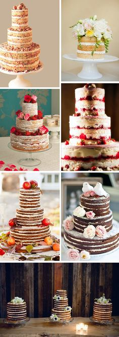 un-iced wedding cakes. I wouldn't really want one for my wedding, but a couple (the second one down on the left and the very bottom ones) are quite beautiful.