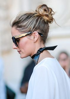 Messy bun, oversized sunglasses, and a neck kerchief for perfect lazy-day glamour. x