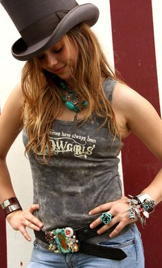My heroes have always been cowgirls! tank + turquoise + top hat= <3 it