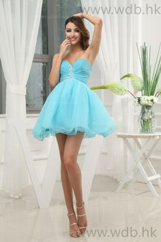 Charming Sweetheart Organza Cocktail Dress  A-line/Princess, Above the Knee, Natural, Sleeveless, Beading, Pleats, Zipper, Organza, Spring, Summer, Fall,   US$98.98