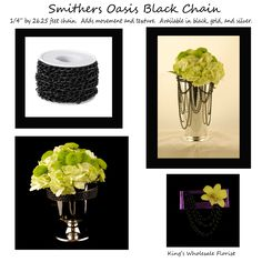 New Smither's Oasis CHAIN! Adds texture and movement. Wholesale Florist, Oasis, Flower Arrangements, Trends, Texture, Chain, Floral, Flowers, Silver