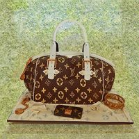Louis Vuitton Birthday Cake and edible accessories by Sweet Fascinations.