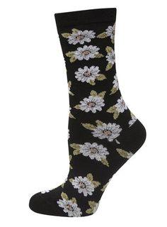 Black Daisy Print Socks