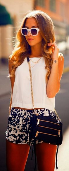 White tank, blue & white shorts, and sunnies!