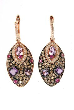 Le Vian lever back pierced earrings in 14K Rose Gold with Amethyst and Pink Sapphires and Chocolate and White Diamonds -- goes with the necklace.