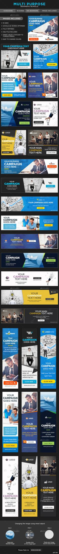 Multi Purpose Web Banners Bundle - 9 Sets Template PSD #ads #design Download: http://graphicriver.net/item/multi-purpose-banners-bundle-9-sets/13303434?ref=ksioks