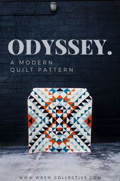 """Odyssey quilt pattern from Rachel of wren-collective.com. Odyssey utilizes half square triangles and squares to create a bold look. This quilt is made up of nine """"mega blocks"""" for a simplified construction. Full color, easy to follow instructions included to make five different sizes. #modernquilt #modernquiltpattern #quiltpattern #halfsquaretrianglequilt #halfsquaretriangles #babyquilt Beginner Quilt Patterns, Modern Quilt Patterns, Quilting For Beginners, Modern Quilting, Star Quilts, Scrappy Quilts, Baby Quilts, Half Square Triangle Quilts Pattern, Geometric Quilt"""