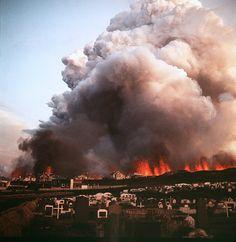 Vestmannaeyjar eruption. 1973.