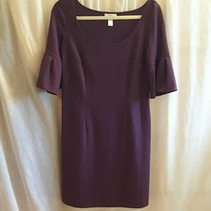 Ann Taylor Loft dress Ann Taylor Loft, size 6, purple, 3/4 length bell sleeves, scoop neck, zipper on left side, 71% polyester  26% rayon 3% spandex dress. Ann Taylor Loft Dresses