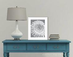 Nautilus Art Print - Nautical Art -  Spiral Fossil Print - Slate Grey - Sea Life - Beach House Decor