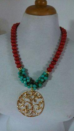Fosiles rojos, jade color turquesa, arbol de la vida dorado