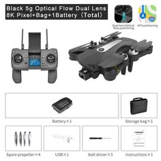 JINHENG  RC GPS Drone 4K Professional Aerial Photographic Foldable Quadcopter With Camera Anti Shake  HD Dual 8K  Brushless Toys - 5G-Black-Dual8K