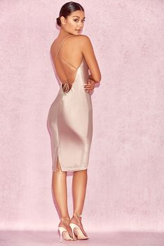 Clothing : Bodycon Dresses : 'Alette' Champagne Satin Cowl Back Dress