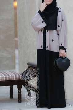 """""""Just the right amount of glam Pros: The beadwork, tailoring, fabric and colour Cons: -"""" -Azlin A. Abaya Chic, Hijab Chic, Abaya Style, Abaya Fashion, Modest Fashion, Fashion Outfits, Uk Fashion, Fashion 2017, Muslim Women Fashion"""