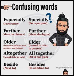 some confusing words English Learning Spoken, Teaching English Grammar, English Vocabulary Words, Learn English Words, English Idioms, English Phrases, English Language Learning, English Lessons, English Vinglish