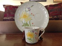 Shafford Flat Cup and Snack Plate in Yellow Spider Mums Set of 4 by AlbertsonMiller on Etsy