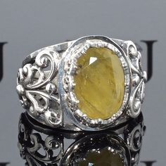 Mens Ring 925 Sterling Silver yellow Sapphire unique handcrafted jewelry #KaraJewels #Handcrafted