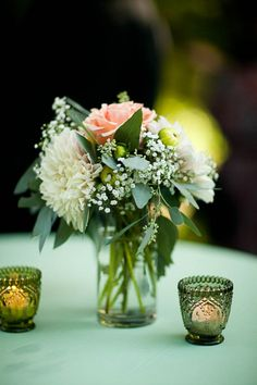 Vintage wedding decor: chargers, lace, & more! :  wedding candle holders diy for sale gold green ivory lace reception selling vintage votives white Light And Dark Green Votives