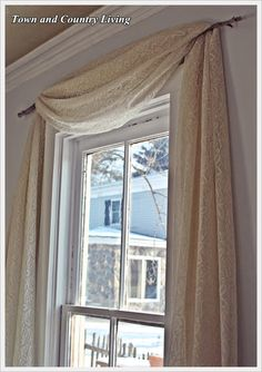 One Dollar No-Sew Curtains - Town & Country Living - old lace and a branch