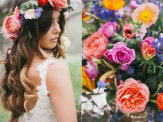 boho wedding hair - photo by Alexandra Wallace http://ruffledblog.com/bohemian-garden-wedding-with-color