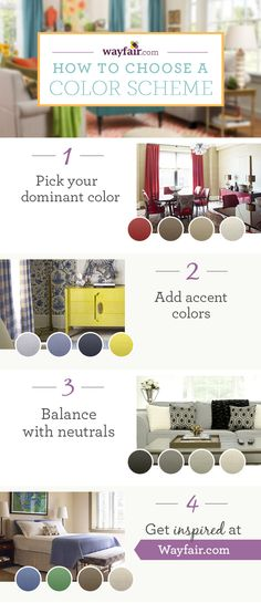 How to Choose a Color Scheme. Learn how to create the perfect color palette for your space.  Get inspired at Wayfair!