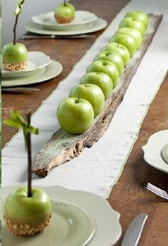 ⌺ Splendid Table Settings ⌺ Apple centerpiece by Petit Gateau concept parties. Photo: Boaz Lavi for Nisha magazine