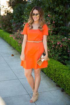 3.14 orange is the new black (Piol dress + DVF wedges + Clare V clutch + Oliver Peoples sunnies + Bobbi Brown 'petal' lipgloss)