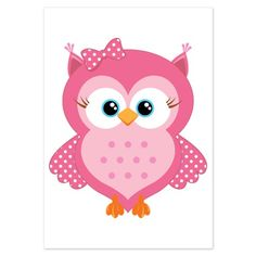Sweet Pink Cartoon Owl 3.5 x 5 Flat Cards
