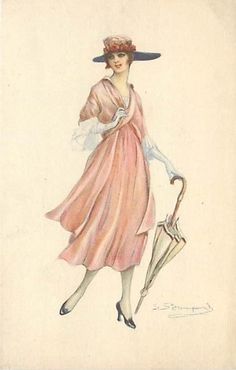 BOMPARD-SMILING WOMAN HOLDING UMBRELLA-FASHION-Q4451