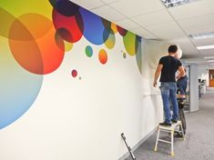 Custom wall murals, covers and graphic stickers and decals for office interiors and office branding projects graphics Office branding ebook Office Mural, Office Walls, Office Decor, Office Wall Decals, Office Interior Design, Office Interiors, Custom Wall Murals, Custom Decals, School Murals