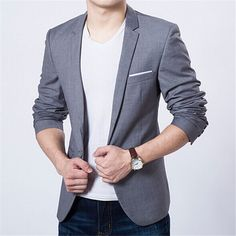 Men Single Button Blazers