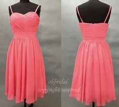 short bridesmaid dresses, chiffon bridesmaid dresses, custom bridesmaid dress,Braces dress