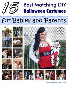 Perfect for our Halloween baby! 15 Great Ideas of Matching DIY Halloween Costumes for Babies and Parents Fröhliches Halloween, Family Halloween Costumes, Homemade Halloween, Baby Costumes, Holidays Halloween, Homemade Costumes, Baby Skunk Costume, Dalmatian Costume, Pregnancy Costumes