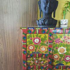 Love these Nepali handpainted drawers #pattern #furniture #handpainted #nepal #art #interiordesign #idhavethisinmyhouse