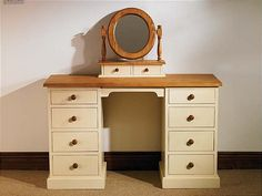 Mottisfont Painted Double Pedestal Desk / Dressing Table (Cream, Pine, Metal)