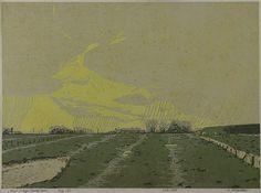 ✨  Nikolaus Störtenbecker, German (*1940) - Marsch im Regen, 1988, Farbholzschnitt ::: Marsh in the Rain, color woodcut