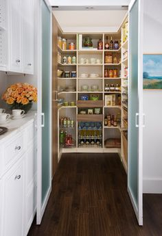Fresh Awesome Kitchen Pantry Cabinet Plans Kitchen Pantry With Organized Shelving Unit This Walk In Pantry Boasts interior decorating options from ou. Kitchen Pantry Design, Kitchen Pantry Cabinets, Smart Kitchen, Kitchen Organization, Kitchen Designs, Organization Ideas, Kitchen Ideas, Stylish Kitchen, Kitchen Doors