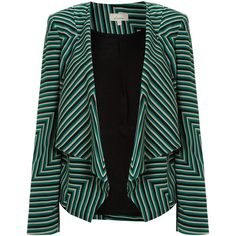 Linea Cutabout stripe waterfall jacket ($120) ❤ liked on Polyvore