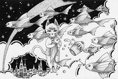 Pen and Ink drawing - Cat and fish in the world in the air… | Flickr