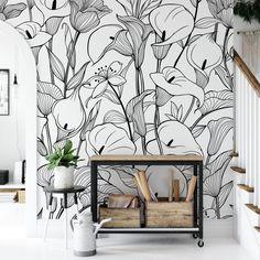 Modern Wallpaper, I Wallpaper, Flower Wallpaper, Kids Room Murals, Wall Murals, Black And White Wallpaper, Smooth Walls, Wall Patterns, Calla Lily