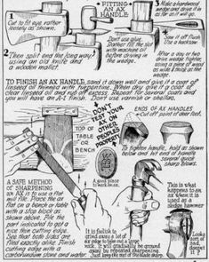 re-fitting an axe handle FREE: Access Our Brand New WoodCrafting Guide Wilderness Survival, Camping Survival, Outdoor Survival, Survival Tips, Survival Skills, Antique Woodworking Tools, Antique Tools, Old Tools, Vintage Tools